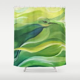 Humming Bird/Acrylic Bird Paint/ Green and Yellow Shower Curtain
