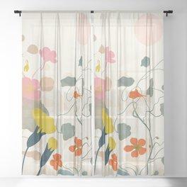 floral minimal spring bloom Sheer Curtain