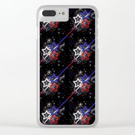 Stars and Stripes Pattern Clear iPhone Case