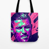 ronaldo Tote Bags featuring Christiano Ronaldo : FOOTBALL ILLUSTRATIONS by mergedvisible