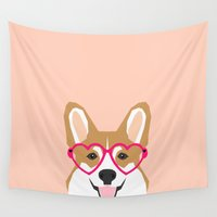 puppies Wall Tapestries featuring Corgi Love - Valentines heart shaped glasses on funny dog for dog lovers pet gifts customizable dog  by PetFriendly
