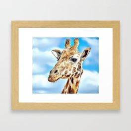 'Hello' Giraffe Airbrush Artwork Framed Art Print