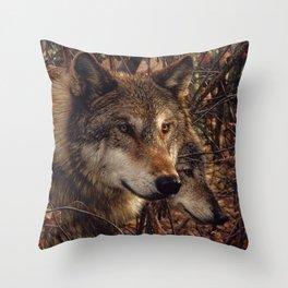 Autumn Wolves Throw Pillow
