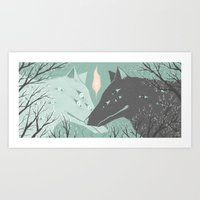 wolves Art Prints featuring Wolves by Kelsey King Illustration