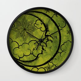 Moon vintage green black Wall Clock