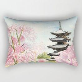 Japanese Temple Watercolor Painting print by Suisai Genki , To-ji, Kyoto , Sakura , Cherry blossom Rectangular Pillow