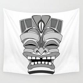 Smiling Tiki-Mask Wall Tapestry