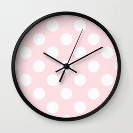 Geometric Orbital Circles In Pale Delicate Summer Fresh Pink with White Dots Wall Clock