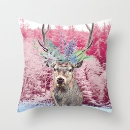 Floral Stag Throw Pillow