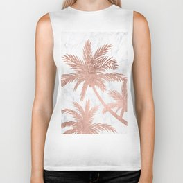 Tropical simple rose gold palm trees white marble Biker Tank