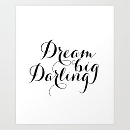 """GIFT FOR HER Chic Girly Striped Typography Inspirational Art Print """"Dream Big Darling"""" Art Print"""
