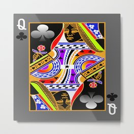 Queen of Clubs Metal Print