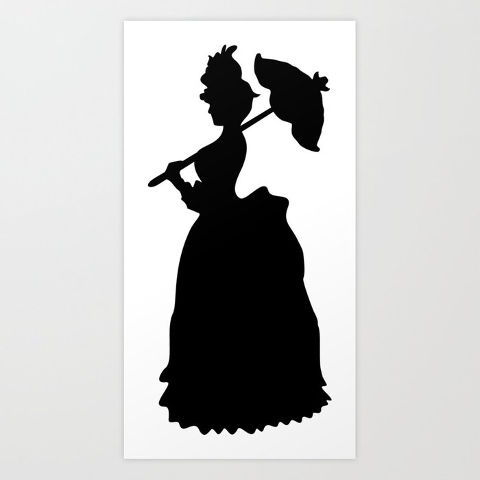 Victorian woman black white woman in a dressing gown art print