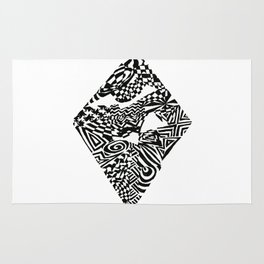 Diamond, Black/White Abstract (ink drawing) Rug