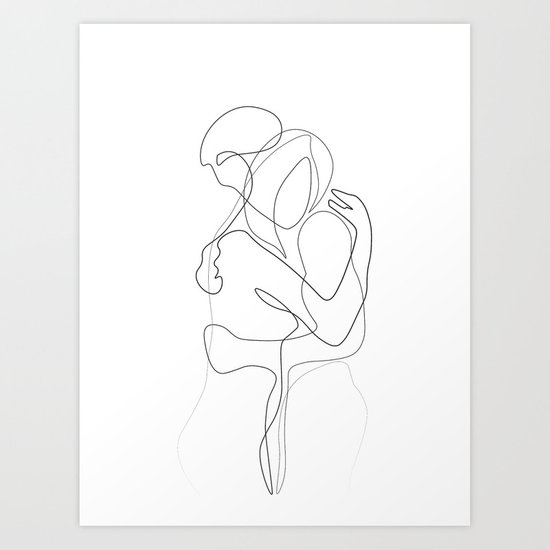 Lovers - Minimal Line Drawing by draw4you
