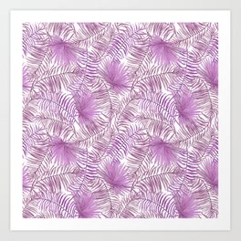 Pastel lilac pink watercolor tropical palm tree leaves Art Print