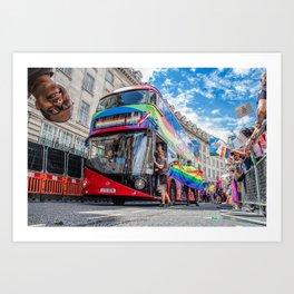 Rainbow Bus Pride In London Art Print