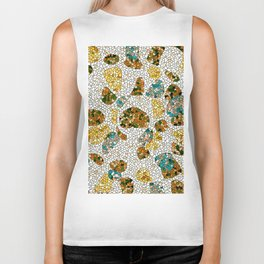 Gold, Copper, and Blue Mosaic Abstract Biker Tank
