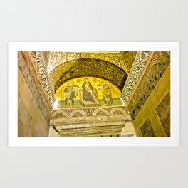 Painting the sacred wall. Art Print