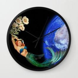 swimming away #collage Wall Clock