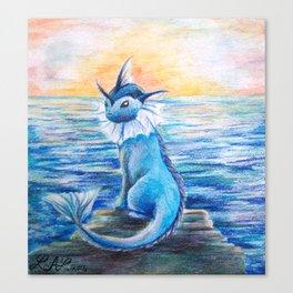 Vaporeon By The Sea At Dawn Canvas Print