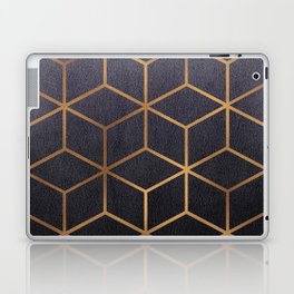 Dark Purple and Gold - Geometric Textured Gradient Cube Design Laptop & iPad Skin