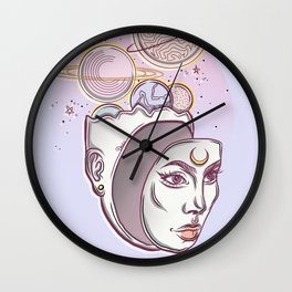 Face Falling From Space Wall Clock
