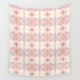 Shabby Chic Peach with White and Yellow Wall Tapestry