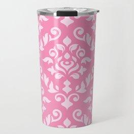 Damask Baroque Pattern Light on Dark Pink Travel Mug