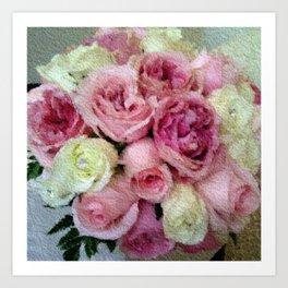 Gorgeous light pink and mauve wedding bouquet Art Print