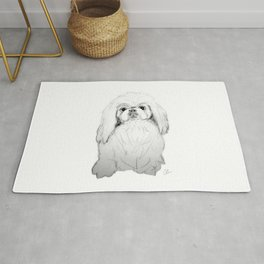 Cartoon Pekingese Dog Rug