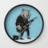 rhino Wall Clocks featuring Rhino by Ronan Lynam