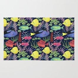 Reef Fish (navy background) Rug