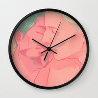 cuddle Wall Clocks featuring CUDDLE by FISHNONES
