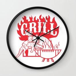 BBQ Chef Carry Gator Grill Retro Wall Clock