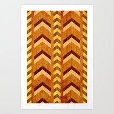 Wood Inlaid Chevrons Art Print