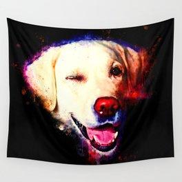 labrador retriever dog winking splatter watercolor Wall Tapestry
