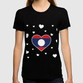 Laos  love flag heart designs  T-shirt