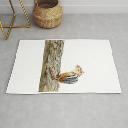 Little Chip - a painting of a Chipmunk by Teresa Thompson Rug