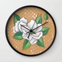 magnolia Wall Clocks featuring Magnolia by Judy Skowron