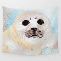 seal Wall Tapestries featuring Seal Baby by Susan Pope - Illustration & Photography