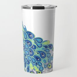Peacock - Yellow, Green and Gray Travel Mug