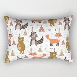Bohemian orange brown forest animal arrows tribal pattern Rectangular Pillow