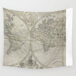 Vintage Map of The World (1700) 2 Wall Tapestry
