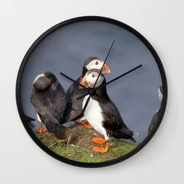 Watercolor Bird, Atlantic Puffins 02, Westman Islands, Iceland Wall Clock