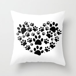Dog paw print made of heart black Throw Pillow