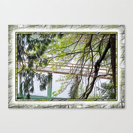 RAINY SPRING DAY AT THE DOCK IN THE WOODS Canvas Print