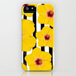 Summer Hibiscus Fun on Black & White Stripes iPhone Case
