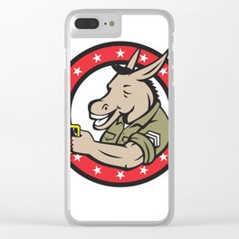 Donkey Beer Drinker Circle Retro Clear iPhone Case