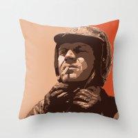 steve mcqueen Throw Pillows featuring S McQueen by Rich Lee